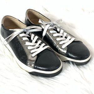 Johnston & Murphy Black Silver Leather Sneakers